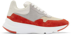 Alexander McQueen Red and White Colorblock Sneakers