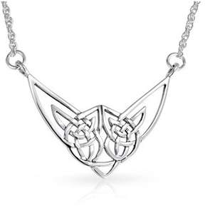 Celtic Bling Jewelry Love Knot Triquetra .925 Silver Pendant Necklace 18 Inches.
