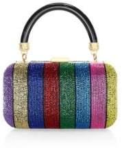 Alice + Olivia Shirley Embellished Rainbow Stripe Clutch