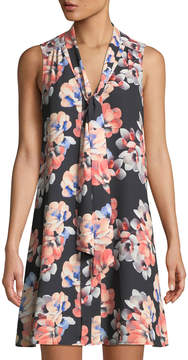 Cynthia Steffe Cece By Garden Blooms Tie-Neck Sleeveless A-line Dress