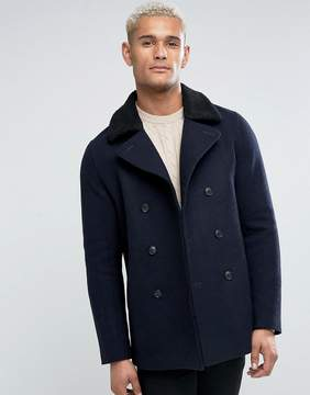 Jack Wills Brownson Wool Peacoat With Fleece Collar In Navy