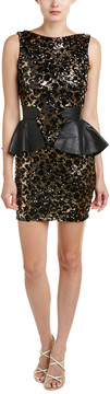 Dress the Population Elyssa Leather-Trim Sheath Dress