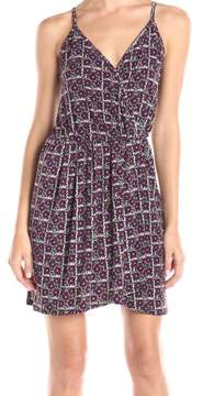 BCBGeneration Women's Deco Print Surplice V-Neck Jersey Dress (L, Moss Multi)