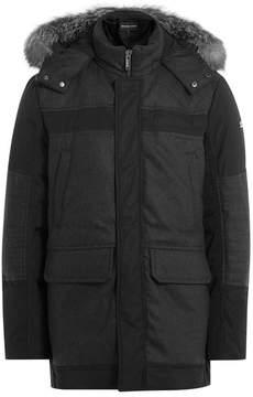 Michael Kors Wool Coat with Hood and Fox Fur Trim