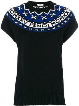 Fendi embroidered knitted top