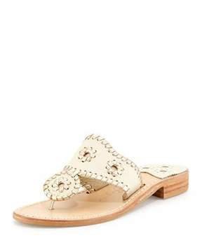 Jack Rogers Palm Beach Whipstitch Thong Sandal, Bone/Platinum
