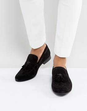Dune Tassel Loafers Black Suede