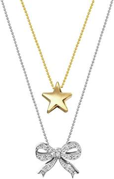 Alex Woo 14K White & Yellow Gold Diamond Bow and Star Pendant Necklace - Set of 2 - 0.07 ctw