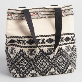 World Market Black and White Bead Tote
