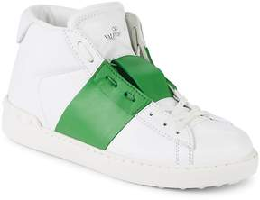 Valentino Men's Leather Contrast-Stripe Sneakers