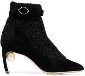 Nicholas Kirkwood Lola Embellished Suede And Metallic-knit Ankle Boots - Black