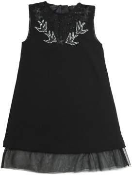 John Richmond Studded Crepe & Stretch Tulle Dress