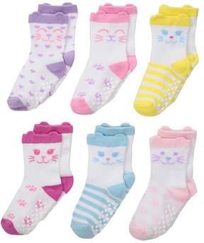 Jefferies Socks Non-Skid Cat Socks 6-Pack Girls Shoes