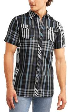 Burnside Men's Short Sleeve Yarn Dye Plaid Woven Shirt