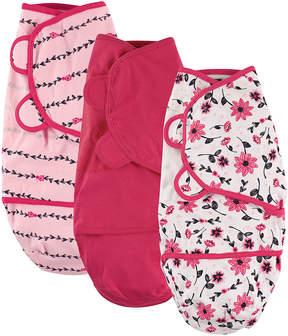 Hudson Baby Hot Pink Floral Swaddle Wrap Set - Infant
