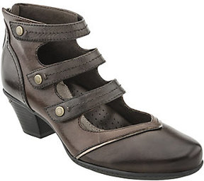 Earth Leather Mary Jane Booties - Serano