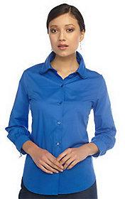 Isaac Mizrahi Live! Tiered Collar Long Sleeve Button Shirt