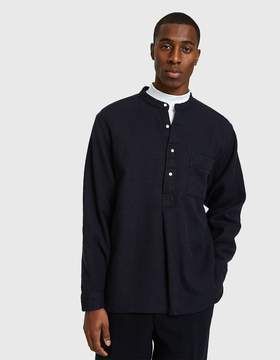 Beams Band Collar Pullover Linen Shirt in Navy