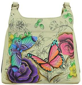 Anuschka Anna by Genuine Leather Triple Compartment Satchel | Hand-Painted Original Artwork |