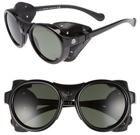 Moncler Men's 52Mm Polarized Round Leather Shield Sunglasses - Shiny Black