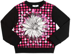 Versace Sequined & Printed Cotton Sweatshirt