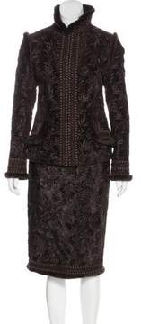 Andrew Gn Embroidered Mink-Trimmed Skirt Suit