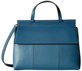 Tory Burch Block-T Satchel Satchel Handbags - BLUE YONDER/FIG - STYLE