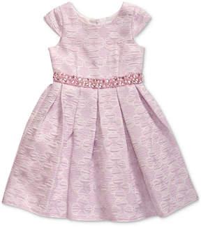 Sweet Heart Rose Little Girls Floral Jacquard Dress