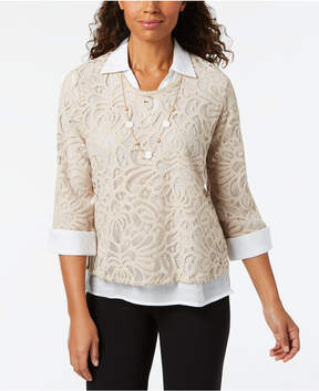 Alfred Dunner Scottsdale Layered-Look Lace Necklace Top