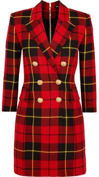 Balmain Tartan Wool Mini Dress - Red