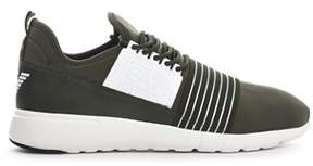 Emporio Armani Men's Green Leather Sneakers.