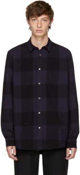 Robert Geller Navy Dyed Plaid Shirt
