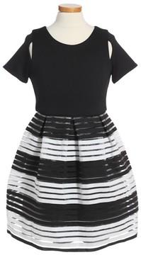 Blush by Us Angels Girl's Elastic Stripe Dress