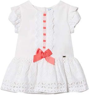 Mayoral White Broderie Anglais Dress with Pink Bow