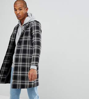 Reclaimed Vintage Inspired Overcoat In Black Check