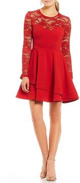 B. Darlin Long Sleeve Asymmetric Hem Fit-and Flare Dress