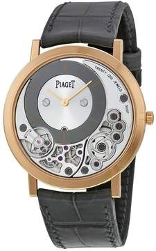 Piaget Altiplano Silver and Black Skeleton Dial 18kt Rose Gold Gray Leather Men's Watch GOA39110