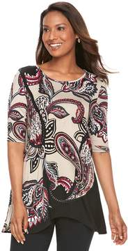 Dana Buchman Women's Paisley Shark-Bite Top