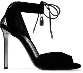 Tom Ford Leather-trimmed Velvet Sandals - Black