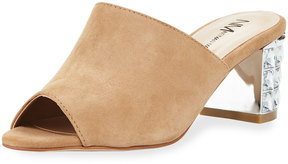 Neiman Marcus Carly Embellished-Heel Suede Mule, Neutral