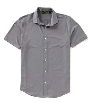 Murano Slim-Fit Gingham Performance Stretch Short-Sleeve Woven Shirt