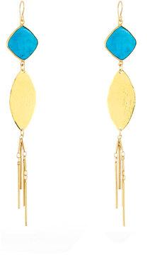 Devon Leigh Turquoise Leaf Fringe Dangle Earrings