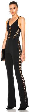David Koma Chain Lace Inserts Jumpsuit in Black.