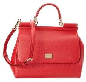 Dolce & Gabbana Sicily Medium Dauphine Leather Satchel. - RED - STYLE