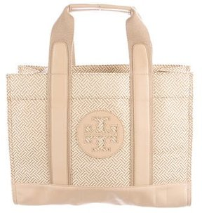 Tory Burch Leather-Trimmed Tory Tote - NEUTRALS - STYLE