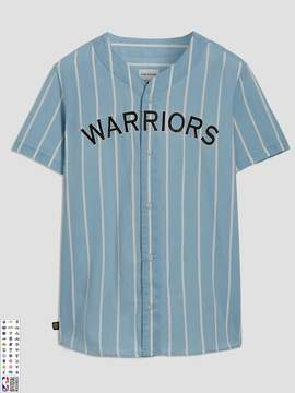 Frank and Oak Golden State Warriors Summer-Denim Short-Sleeve Shirt in Striped Indigo