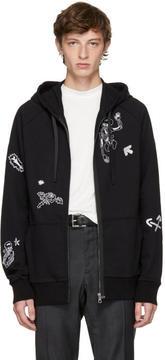 Lanvin Black Skeleton and Flower Zip Hoodie