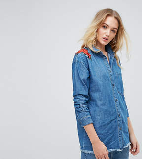 Noisy May Tall Denim Shirt With Floral Embroidery
