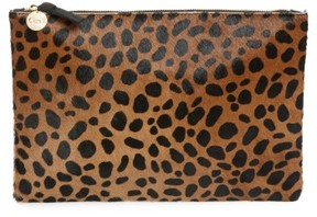 Clare Vivier Leopard Print Genuine Calf Hair Clutch - Brown