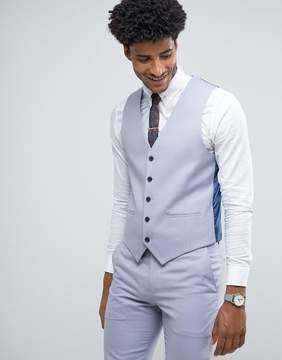 Farah Skinny Wedding Vest in Blue